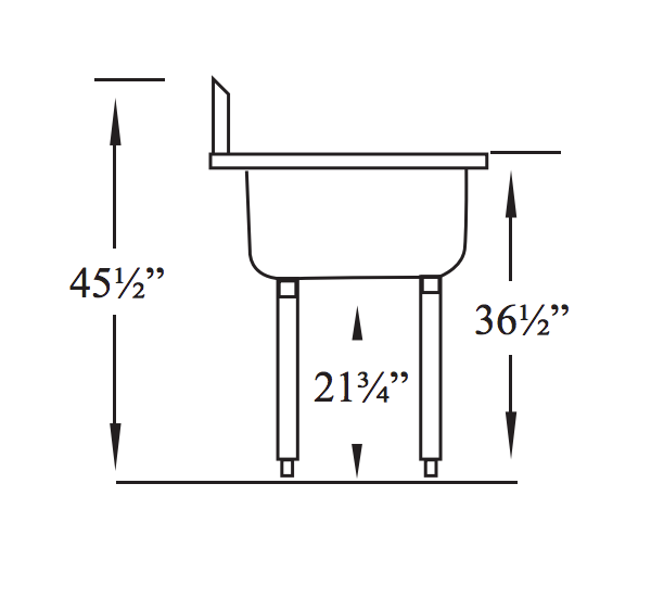 Side View of Sink with measurements