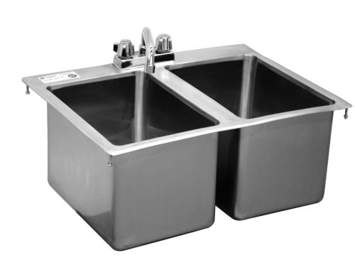 2 bowl drop in sink with faucet