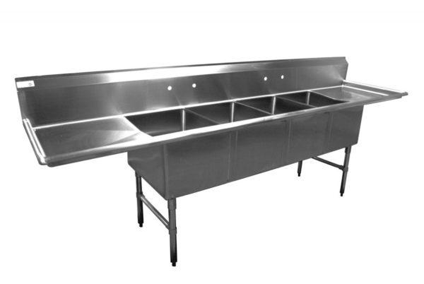 4 Bowl Economy Series Sink, Double Drain Board